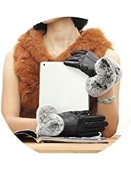 Paño grueso y suave mantenga cálido frío espesamiento más guantes de las mujeres de la alta calidad de cuero genuino de