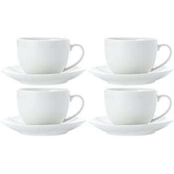 Alessi 110305X2 La Bella Tavola Porcelain Tea and Coffee Cups with Saucers Off-White Set of 2 180 ml