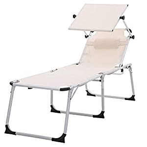 SONGMICS Sonnenliege, Liegestuhl, Gartenliege, extra groß, 65 x 200 x 48 cm, bis 150 kg belastbar, mit Sonnendach…