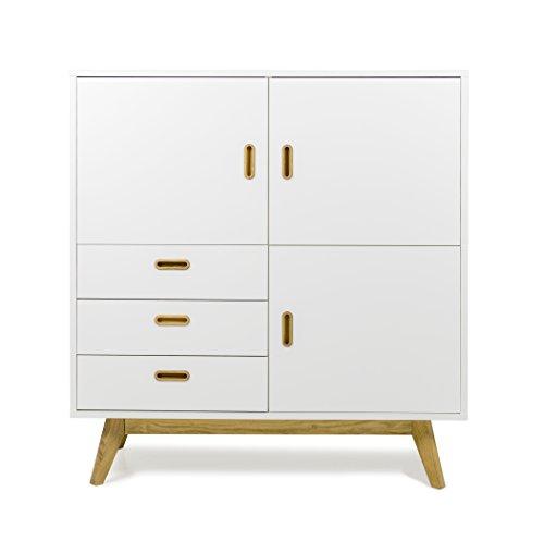 Designer-schrank (Tenzo 2166-001 Bess Designer Schrank / Highboard, 120 x 114 x 43 cm, weiß / eiche)