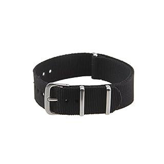 Sport-/Militär-Uhrenband von Possbay, Leinenstoff/Nylon, mehrfarbig, 18mm / 20mm / 22mm, für Frauen und Männer, schwarz, 20 mm