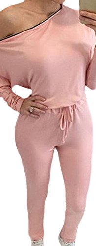 erdbeerloft - Damen Off Shoulder Jumpsuit, Romper, langes Bein und lange Ärmel, 42, Rosa (Nadelstreifen-blazer Rosa)