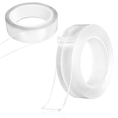 Senhai Transparentes Nano Klebeband, abwaschbar, wiederverwendbar, doppelseitig, Gel-Klebeband zum Einkleben von Gegenständen - transparent, 4,6 m und 3,29 m