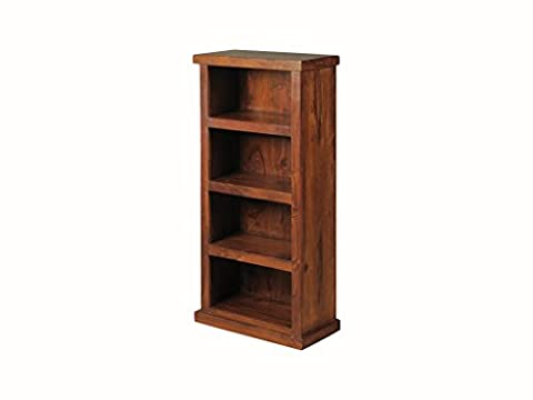 Sheesham Indian Rosewood Space-Saver Bookcase - Thakat Low Narrow Bookcase - Finish : Mid Brown Sheesham - Living room Furniture / Home Office