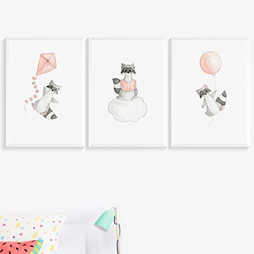 SDPYY Mapache Mosca Cometa Nube vivero Carteles Arte de la Pared Lienzo Pinturabebé niños habitación decoración-40x60cmx3 Piezas sin Marco