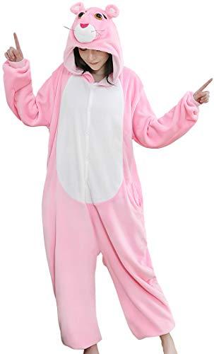 OLIPHEE Unisex-Erwachsene Jumpsuits Tieroutfit Tierkostüme Schlafanzug Cosplay Onesie Pyjama Pink-Panther-Reihe - Damen Pink Panther Kostüm