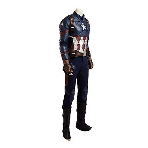 Kostüm Captain America Bodysuit - BLL Captain America Cosplay-Onesies aus Leder, Kostüm für Halloween-Bühnenshows Women-S