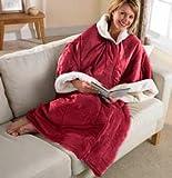 - in wendbar Erwachsene gemütlicher Wohnmantel mit Ärmeln und ReißverschlussTragbar Super Soft Fleece Überwurf burgunderfarben