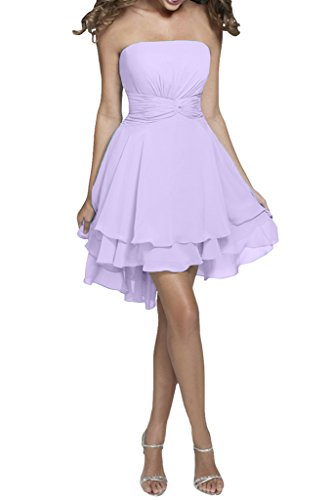 Missdressy Damen Chiffon A-Linie Falte Abendkleid kurz Traegerlos Lila