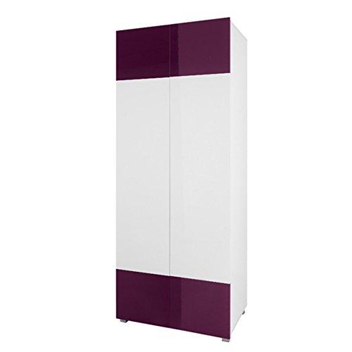 Kleiderschrank Drehtürenschrank Gordia G SZ2D mit Kleiderstange, Grifflosem Öffnen, Modernes Schrank für Wohnzimmer (Weiß / Weiß Hochglanz + Violett Hochglanz)