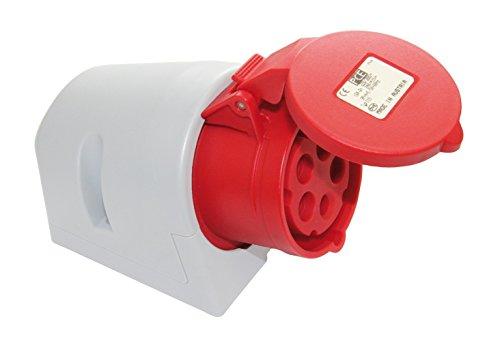 CEE Steckdose 5-polig 16A 400V~ von 4smile – Made in Europe | 2 Stück CEE Steckdose Aufputz | für Industrie Handwerk Landwirtschaft | Farbe: rot