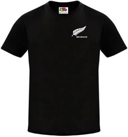 Neu Seeland Rugby Fußball / Fußball Nationalen / Cricket Team T-Shirt Trikot - Schwarz, (Nuova Zelanda Rugby Shirts)