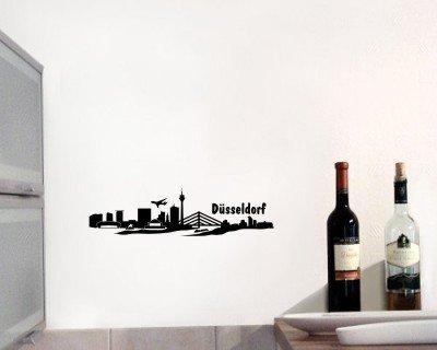 Wandtattoo Wandsticker Düsseldorf Skyline schwarz 30x7,8cm von plot4u auf TapetenShop