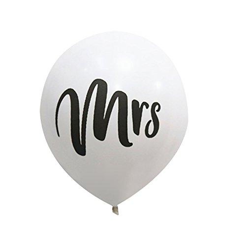 navigatee 10pcs Mr Mrs látex globo aerostático 10pulgadas boda Decoración Globo, Blanco, B: Weißer Ballon MRS