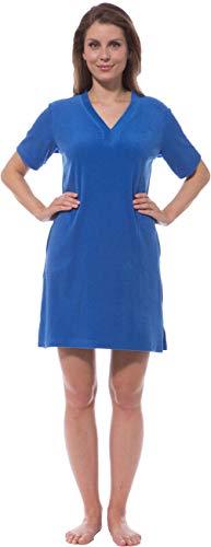 Morgenstern Strandkleid Damen Frotteekleid mit V-Ausschnitt S Damen-Strandkleid Navy blau Frauen Strand lang frottee Baumwolle bademode frottier