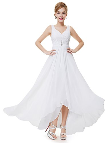Ever-pretty scollo v abito da sera donna lunga high-low chiffon impero bianco 44