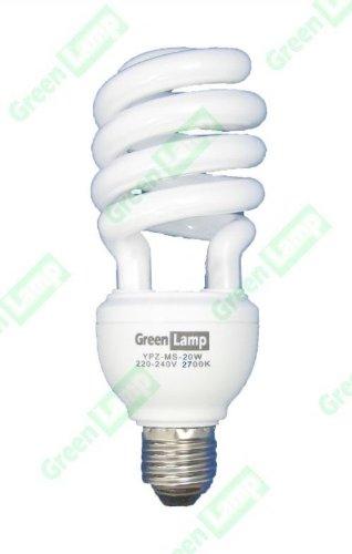 10Stück Green 20W (Lichtleistung entspricht 100W) Warm Weiß Energiesparend CFL E27Glühbirne ES 2700K - Cfl 100w Spirale Glühbirne