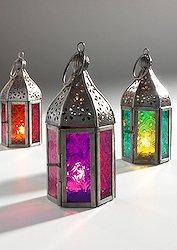 glampmycamp 3er-Set marokkanische Glas-Teelicht-Laternen
