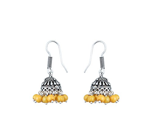 Waama Jewels Elegant Pair Of Eight Color Pearl Silver Plated Jhumki Earring For Party wear, Wedding & Winter Collection,South Indian Festival Pongal And makar sankranti Earrings (Yellow)  available at amazon for Rs.89