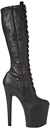 Pleaser Taboo-2021, Polacchine Donna, Blk Leatherette / Blk Mat Nero (Blk Faux Leather/Blk Matte)