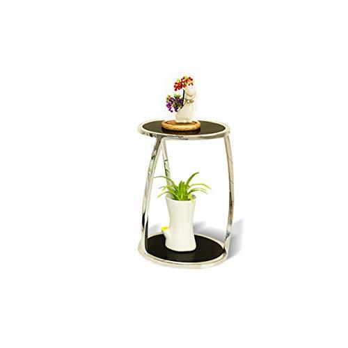 CHENGXI Präsentationsständer Edelstahl Zierrahmen Pflanzenständer Innenblumenständer Balkonbodenregal Topfregal Ablagefach Silber (Color : Sliver, Size : S)