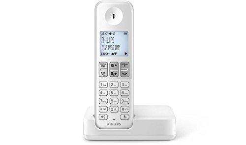Philips D2301W/FR Téléphone fixe sans fil avec haut-parleur, ID appelant, compatible toutes Box FR, Blanc