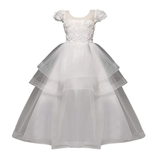 (IZHH Kinder Hochzeitskleid,BlumenMädchen Kleidungkleider Kinder Kostüm Kinder Mädchen Kleidung Prinzessin Sleeveless Rose Mesh Kleid Formale Party Tutu Party Kleidung Ostergeschenk(Weiß,160))
