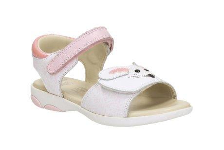 Clarks Wackeln Sie Tail Kleinkind Mädchen Sandalen in weiß/rosa Leder White/Pink 7 F