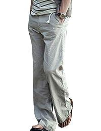 QK-Lannister Pantaloni Sfilacciati da Uomo Pantalone Traspirante di Lino  Cotone in Classico cf7718453ff6