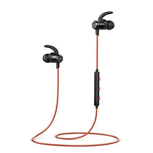 Anker SoundBuds Slim Bluetooth Kopfhörer Kabellos und Magnetverschluss, Wasserfest Sport Headset mit Mikrofon für iPhone, iPad, Samsung, Nexus, HTC und mehr(Rot)