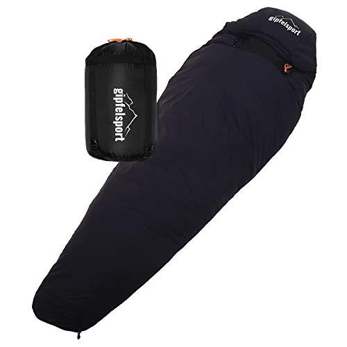 gipfelsport Mumienschlafsack - Outdoor Schlafsack für Erwachsene und Kinder | für Herbst und Frühling, schwarz