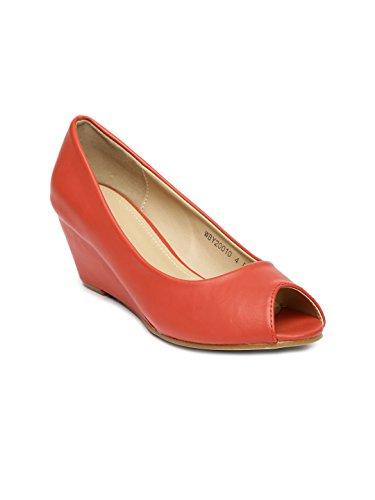 Van Heusen Women Red Peep-toed Wedges
