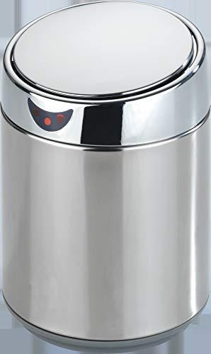 Wenko Sensor-Kosmetikeimer, Mülleimer Abfalleimer, öffnet & schließt automatisch, herausnehmbarer Innenbehälter, 12,5 x 20 cm, Edelstahl, 2 Liter, grau