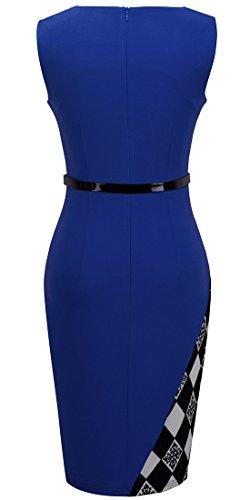 HOMEYEE Damen Ohne Arm Asymmetrische V-Ausschnitt Belted Enges Kleid B290 Blau