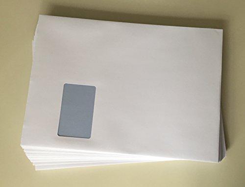 100 Versandtaschen mit Fenster, C4 = 324 x 229 mm, mit Laser bedruckbar, hitzefestes Folienfenster, Geschäfts-Umschläge, mit Abziehstreifen