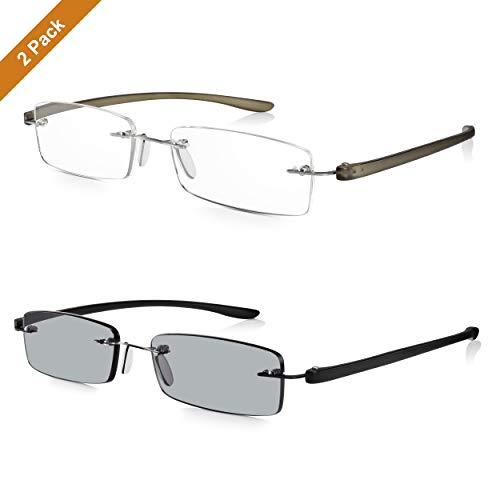 Read Optics 2er Pack randlose Lesebrille & getönte Brille +2,0 Dioptrien: Herren/Damen Sonnen-Lesehilfe mit Stärke und patentiertem SecureLoc System. Leicht und stabil, flexible und robuste Bügel
