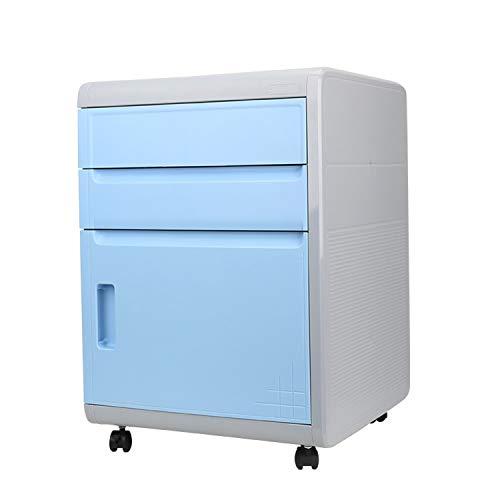 MIAOLULU 3-Drawer Mobile File Cabinet A4-Datei, Lockable Fülldatenkabinette Hanging File Frame,Blue