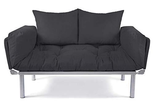 EasySitz Schlafsofa Sofa 2 Sitzer Kleines Couch 2-Sitzer Schlafsessel für Zweisitzer Personen Mein Futon Sitzen EIN Einer Farbauswahl (Dunkel Grau & Dunkel Grau)