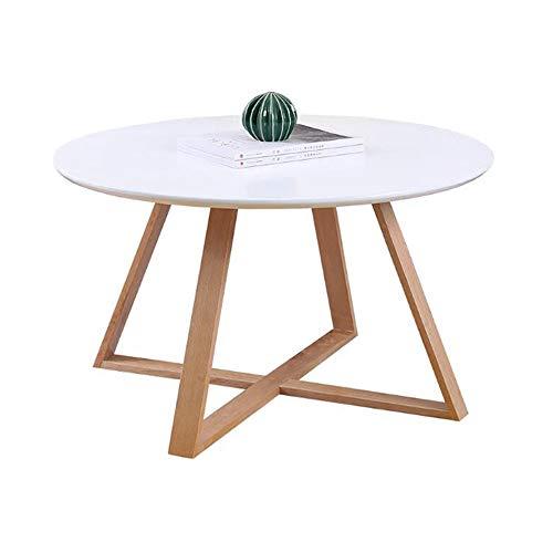 Tables CJC, Rond Rétro MDF Côté Fin Centre Café À Manger, Moderne, Occasionnel (Couleur : Blanc)