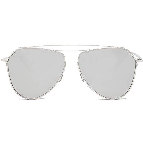 SOJOS Klassische Doppelte Flex Speicher Metall Brücken Flieger Verspiegelt Linsen Herren Damen Sonnenbrille SJ1040 mit Silber Rahmen/Silber Linse