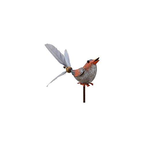 L'Héritier Du Temps Mobile Eolienne de Forme Oiseau Tuteur de Jardin ou Plante en Fer Patiné Coloré 10x16x66cm - Rouge-Gris
