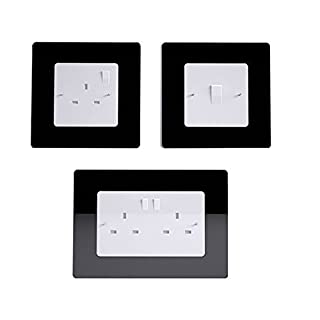 Xpork 3 PCS Single Double Light Switch Plug Socket Back Acrylic Surround Finger Plate Black (1 Double+2 Single)