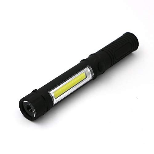 ht Taschenlampe Mini tragbare Handfackel Flutlicht mit Clip und Magnetfuß Inspektionslampe für Notfallausrüstung Camping Wandern Angeln (Color : Schwarz) ()