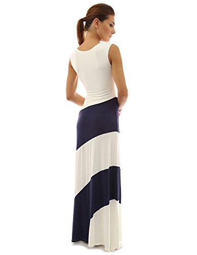 PattyBoutik Damen ärmelloses Stretch gestreiftes MaxiKleid mit V-Ausschnitt Marine und Elfenbeinweiß