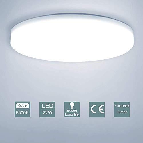 LED Lámpara de Techo,22W Moderna Plafón Led de Techo Redonda Ultra Delgado...