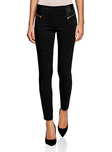 oodji Collection Mujer Pantalones Stretch con Cremalleras Decorativas, Negro, ES 38 / S