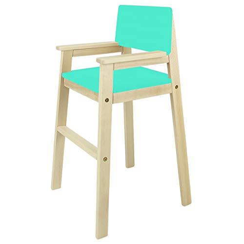 MADYES Kinderstuhl Hochstuhl Massivholz Buche Natur/Türkis Treppenhochstuhl für Esstisch, Kinderhochstuhl für Kinder, stabil & pflegeleicht viele Farben möglich