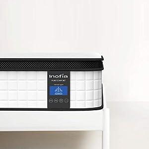 Inofia Federkernmatratze 160x200 7-Zonen Matratze Taschenfederkernmatratze H3/Oeko-TEX® 100/Wave Memory Foam & Softgestrick/Elegant Typ/Höhe 27 cm/weiß /100 Nächte Probeschlafen /10 Jahre Garantie