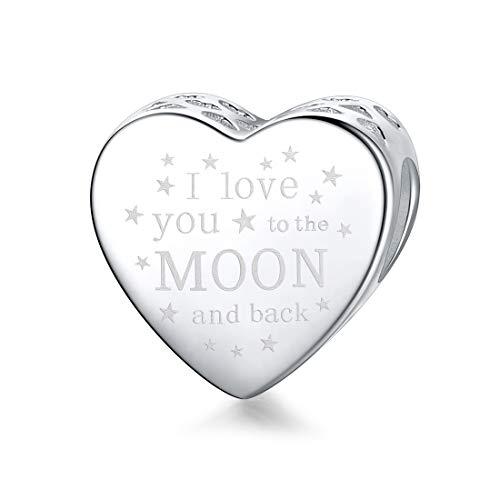 Damen -Bead Charms 925 Sterlingsilber, I Love You to the Moon and Back Charm für Pandora und europäische Armbänder