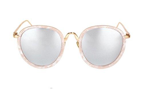 SojoS Specchio Rotonda Ovale Composito Annata Sveglia di Modo Occhiali da Sole SJ2015 con Rosa Telaio/Argento Lente